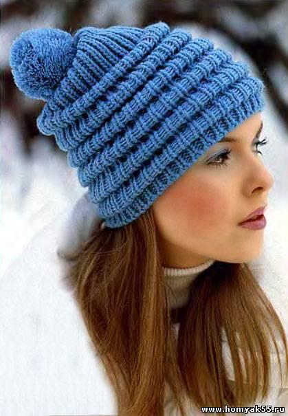 Вязаная тёплая шапка с