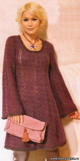 расклешенное вязаное платье | вязание пуловер с