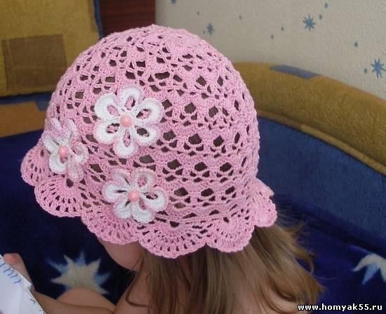 Схемы вязания крючком шапочек на лето
