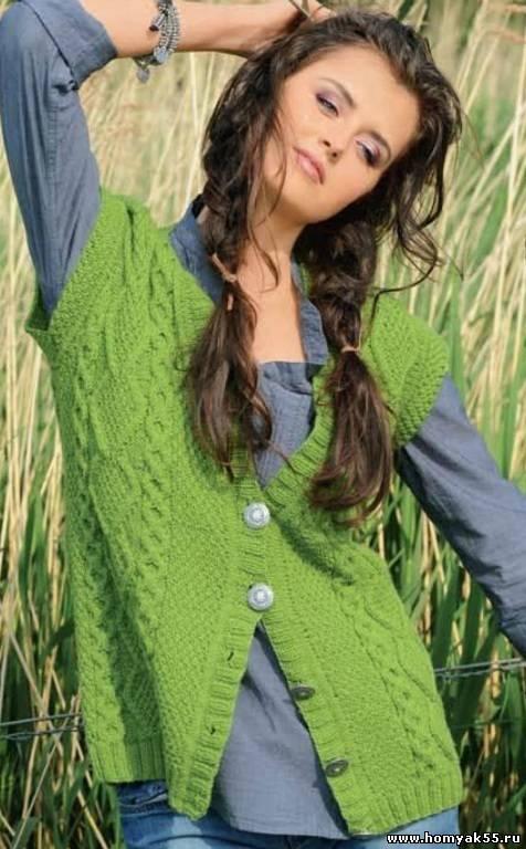 Зеленый жилет с косами