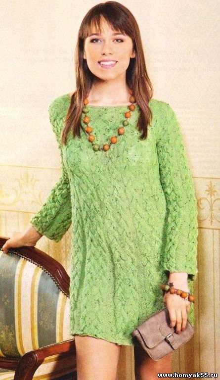 зеленое платье спицами