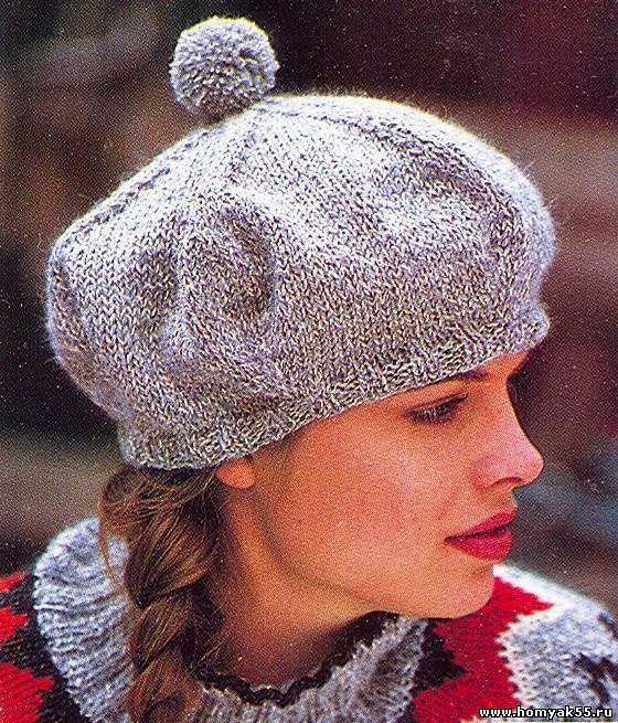 Серая шапочка с помпоном