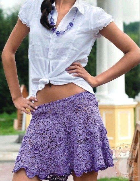 Вязаная ажурная юбка