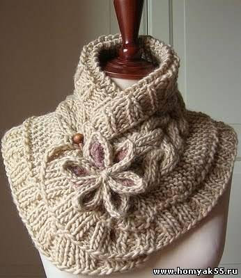 очень красивый шарф спицами