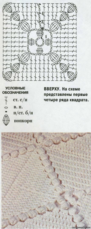 Покрывало на кровать связанное крючком схемы