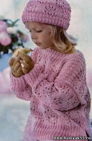 пуловер и шапочка спицами