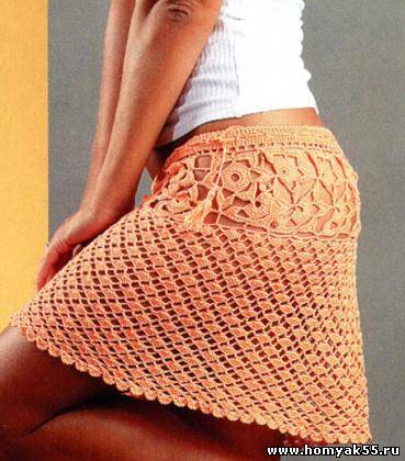 Оранжевая мини юбка крючком