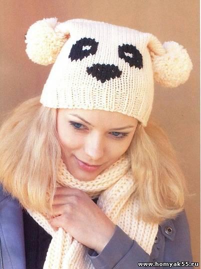 """шапка и шарф панда Шапка """""""