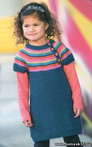 платье туника с полосатой кокеткой.