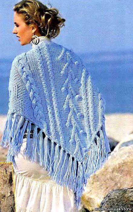 Голубая шаль спицами