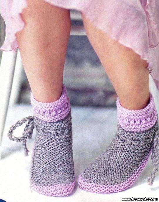 Серо-розовые носочки. Vjazhemspicami.ru - Вязание спицами, схемы вязания, узоры по вязанию
