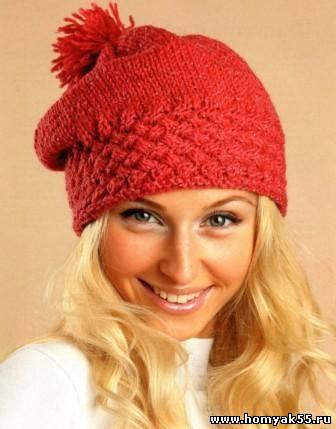 Женская шапка с плетёным