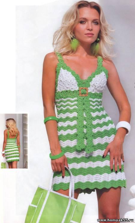 зеленое летнее платье