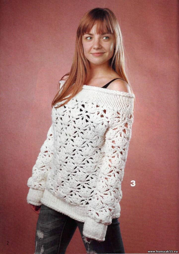 Белый пуловер из толстой пряжи