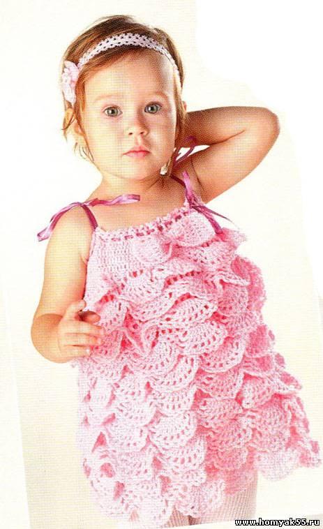Детское платье крючком ирландское кружево