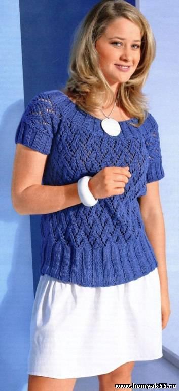 Связать пуловер с коротким рукавом спицами