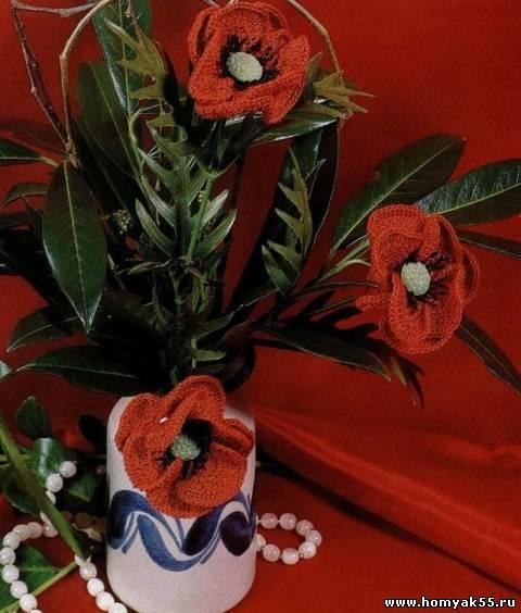 Вязание цветов мака крючком для начинающих мастер класс