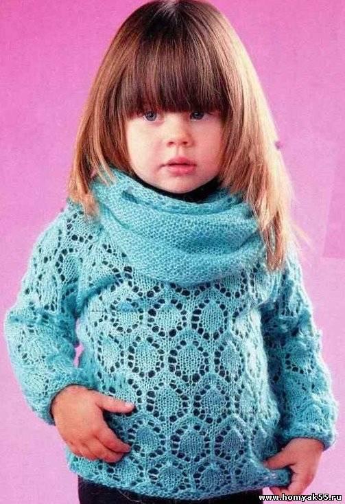 Детский пуловер и шарф труба