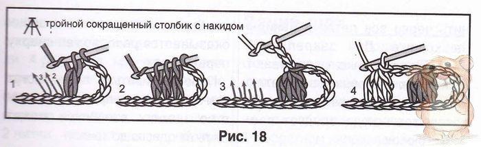 Как связать 5 столбиков с накидом в одну петлю