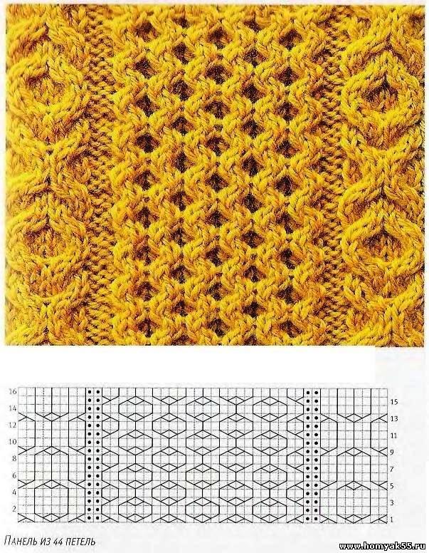 Образцы для вязания сотами 355