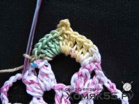 Цветочная салфетка крючком