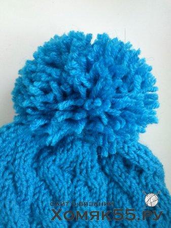 Как сязать шапку спицами