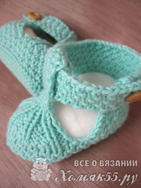 Пинетки-сандали спицами