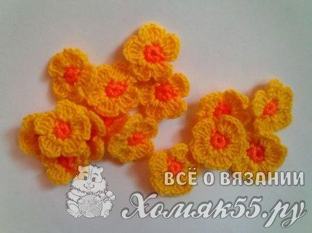 Цветы в горшке крючком