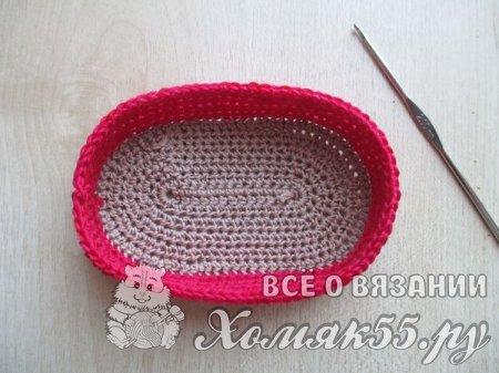 Красные пинетки-тапочки крючком