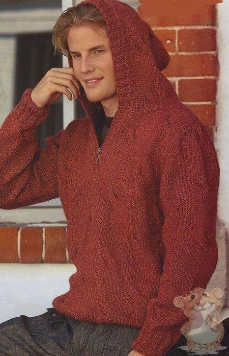 Мужской пуловер с капюшоном