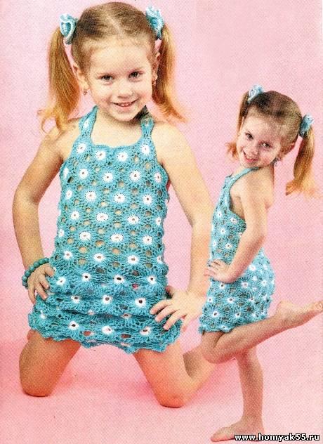Связать платье девочки из мотивов