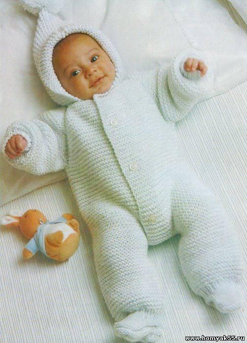 Комбинезон спицами для новорожденных схемы на 0-3 месяцев
