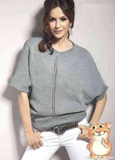 Вязание спицами для женщин с кокеткой 475