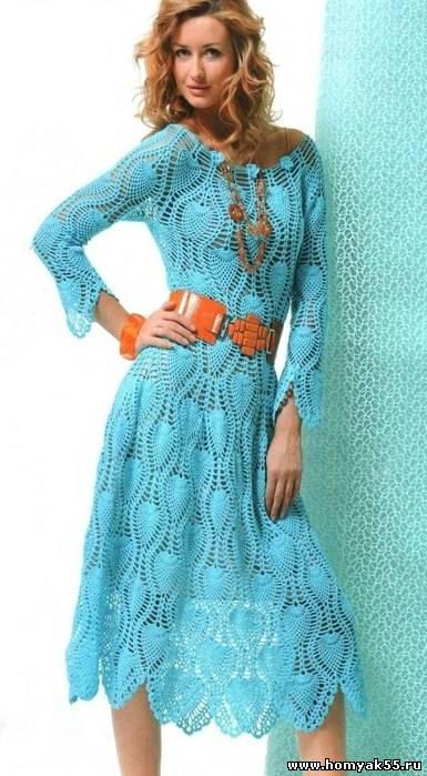 Платье крючком узором ананас схема фото 219