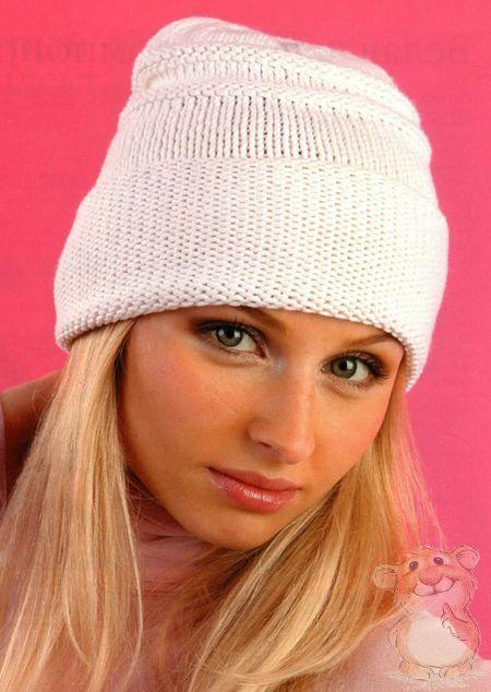 как связать теплую женскую шапку спицами