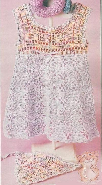 Узори вязания платя для девочки крючком