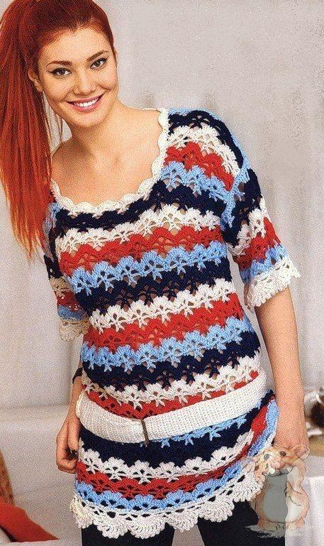 Туника платье вязаное с поясом