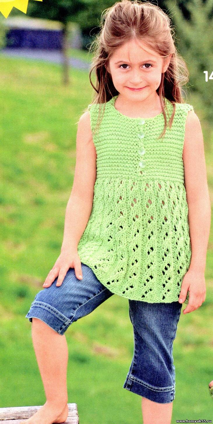 42702fc2af4 зелёная туника спицами Зелёная туника для девочки