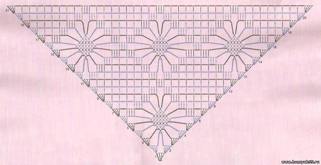 Схема крючком паучки шаль