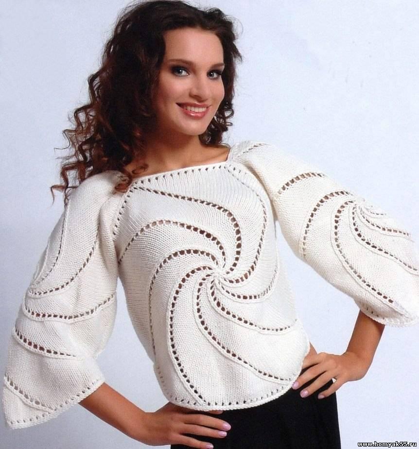 вязание спицами полувер для женщин схемы из полушерсти размер 50