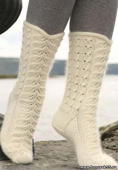 Носки ажурные спицами вязать