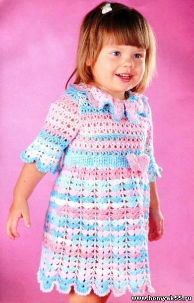 Схема кружевное платье крючок 2 года