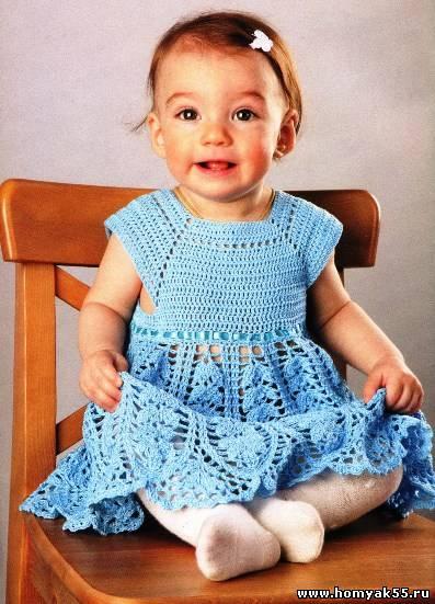 Ажурное платье крючком на 2 года