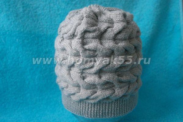 шапка с косами вязанная поперечным полотном мастер класс