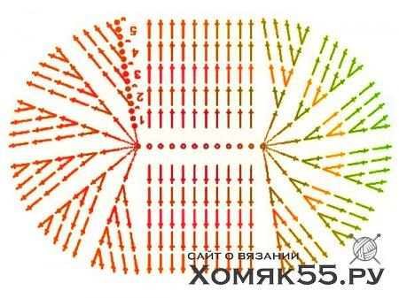Красные вязаные  пинетки с цветком из лент в технике канзаши