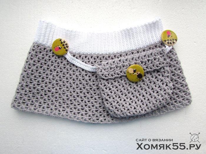 Связать юбку для девочки крючком просто