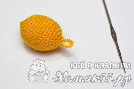 Фрукты крючком - вязаный лимон на елку