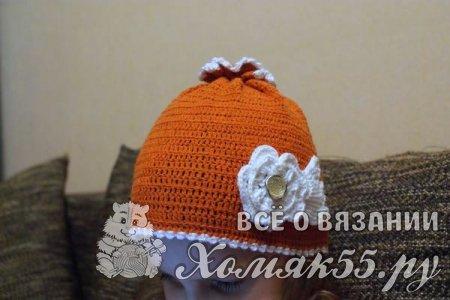 Весенняя шапочка для девочки крючком
