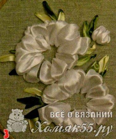 Пошаговая инструкция вышивки пионов лентами
