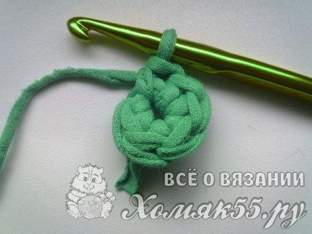 Ваза крючком из трикотажной пряжи